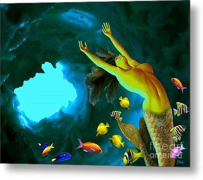 Mermaid Cave Metal Print