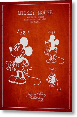 Mickey Mouse Patent Drawing From 1930 Metal Print by Aged Pixel