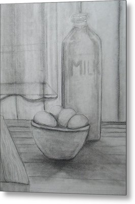 Milk And Eggs Metal Print