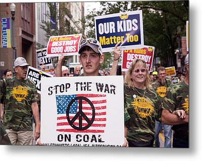 Miners Rally Against Coal Burning Limits Metal Print by Jim West