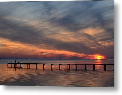 Metal Print featuring the photograph Mirrored Sunset Colors On Santa Rosa Sound by Jeff at JSJ Photography