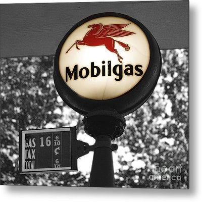 Mobil Gas Metal Print by Raymond Earley