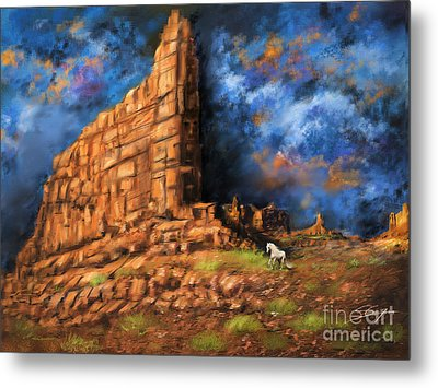 Metal Print featuring the painting Monument Valley by S G