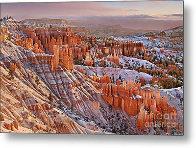 Morning Snow At Bryce Metal Print by Roman Kurywczak
