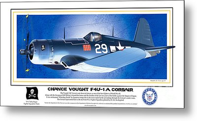 Metal Print featuring the drawing Navy Corsair 29 by Kenneth De Tore