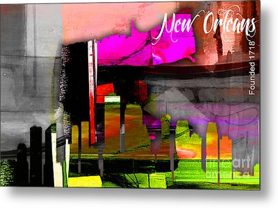New Orleans Map And Skyline Metal Print by Marvin Blaine