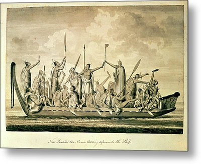 New Zealand War Canoe Metal Print by British Library