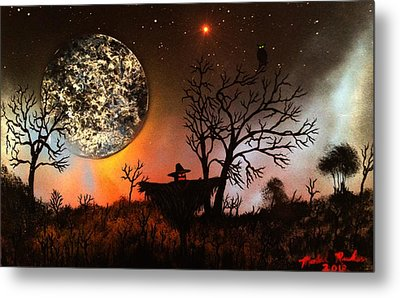 Night Of The Scarecrow  Metal Print by Michael Rucker