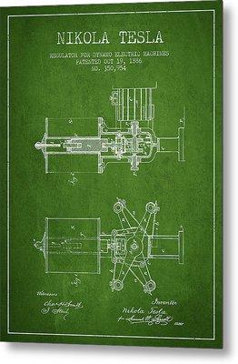 Nikola Tesla Patent Drawing From 1886 - Green Metal Print by Aged Pixel