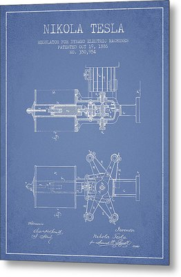 Nikola Tesla Patent Drawing From 1886 - Light Blue Metal Print by Aged Pixel