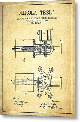 Nikola Tesla Patent Drawing From 1886 - Vintage Metal Print by Aged Pixel