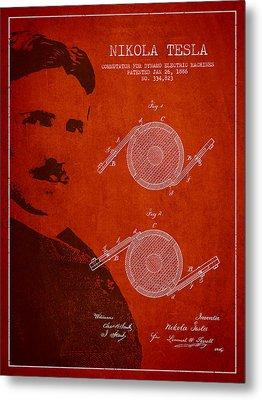 Nikola Tesla Patent From 1886 Metal Print by Aged Pixel