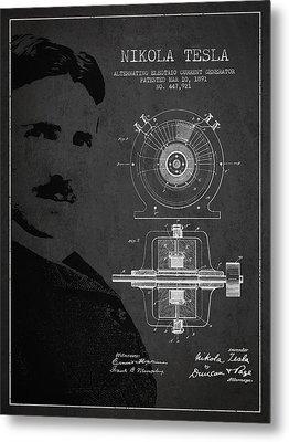 Nikola Tesla Patent From 1891 Metal Print by Aged Pixel
