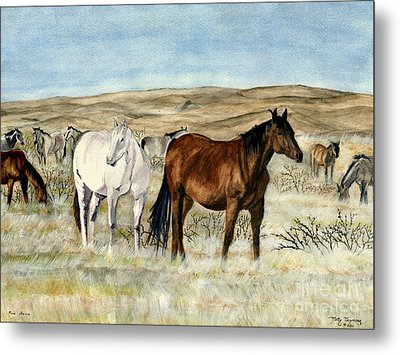 Metal Print featuring the painting Nine Horses by Melly Terpening