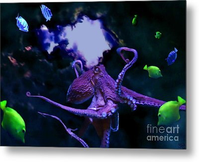 Metal Print featuring the mixed media Octopus by Steed Edwards