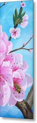 #2 Of Diptych Peach Tree In Bloom Metal Print