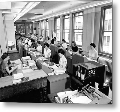 Office Workers Entering Data Metal Print by Underwood Archives