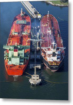 Oil Tankers Docked At Oil Pier, Down Metal Print by Dave Cleaveland