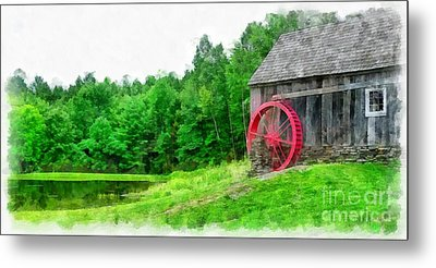 Old Grist Mill Vermont Red Water Wheel Metal Print