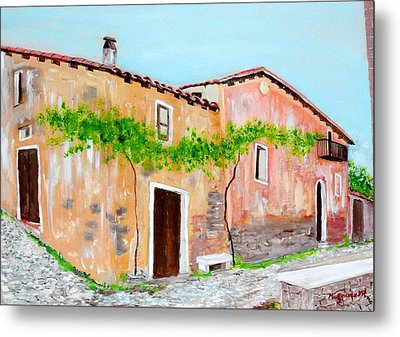 Old Houses Near The Old Church Metal Print by Mauro Beniamino Muggianu