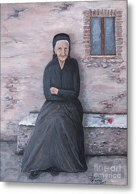 Old Woman Waiting Metal Print by Judy Kirouac