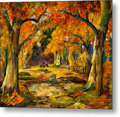 Metal Print featuring the painting Our Place In The Woods by Mary Ellen Anderson