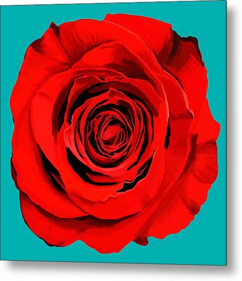 Painting Of Single Rose Metal Print by Setsiri Silapasuwanchai