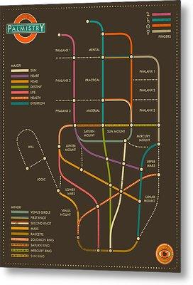 Palmistry Subway Map Metal Print