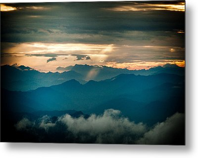 Panaramic Sunset Himalayas Mountain Nepal Metal Print by Raimond Klavins