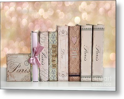 Paris Dreamy Shabby Chic Romantic Pink Cottage Books Love Dreams Paris Collection Pastel Books Metal Print