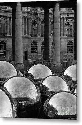 Paris Reflecting Balls In The Palais Royal Gardens Metal Print by Design Remix