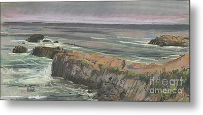 Metal Print featuring the painting Pescadero Beach by Donald Maier