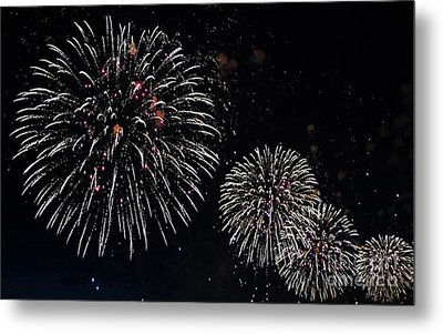 Metal Print featuring the photograph Pink Fireworks by Lilliana Mendez