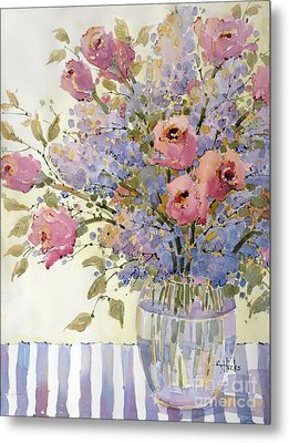 Pink Roses And Lilacs Metal Print by Joyce Hicks