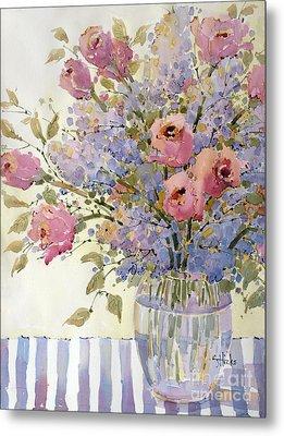 Pink Roses And Lilacs Metal Print