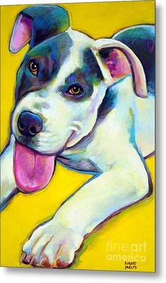 Metal Print featuring the painting Pit Bull Puppy by Robert Phelps