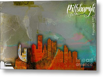 Pittsburgh Skyline Watercolor Metal Print by Marvin Blaine