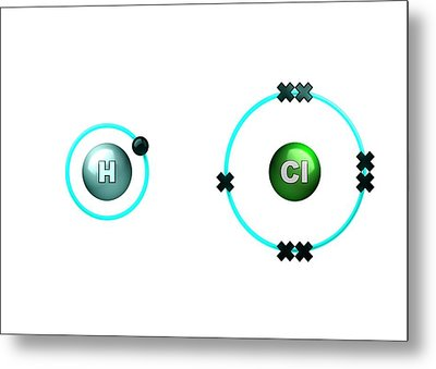 Polar Bond In Hydrogen Chloride Molecule Metal Print by Animate4.com/science Photo Libary