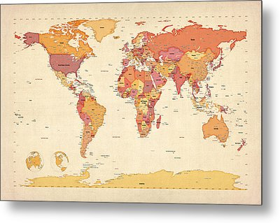 Political Map Of The World Map Metal Print by Michael Tompsett