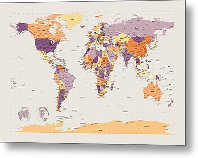 Political Map Of The World Metal Print by Michael Tompsett