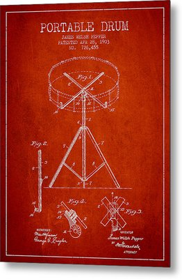 Portable Drum Patent Drawing From 1903 - Red Metal Print by Aged Pixel