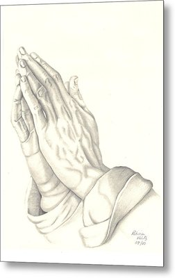 Metal Print featuring the drawing Praying Hands by Patricia Hiltz