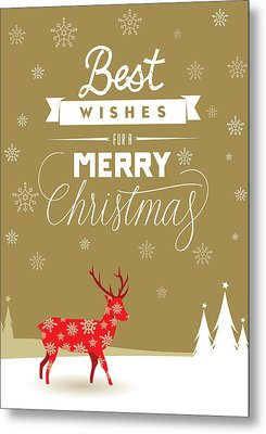 Red Deer Christmas Metal Print