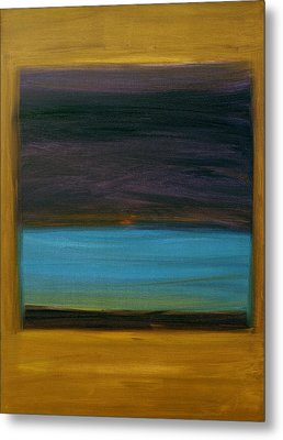Purple And Turquoise In Yellow Metal Print