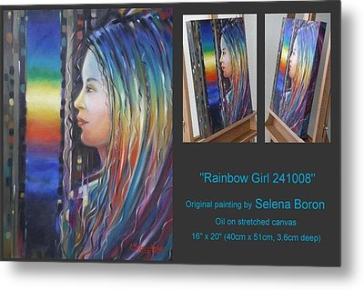 Metal Print featuring the painting Rainbow Girl 241008 by Selena Boron