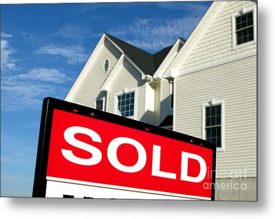 Real Estate Realtor Sold Sign And House For Sale Metal Print by Olivier Le Queinec