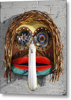 Recycling Spirit Mask Metal Print
