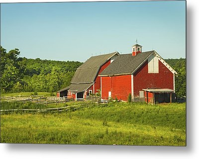 Red Barn And Fence On Farm In Maine Metal Print by Keith Webber Jr