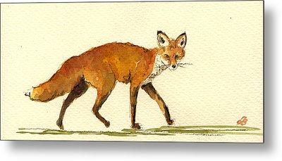 Red Fox Metal Print by Juan  Bosco
