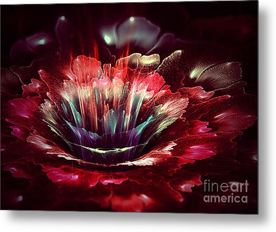 Red Fractal Flower Metal Print by Martin Capek